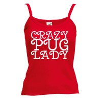Ladies Crazy Pug Lady Vest (Available in 4 colours )