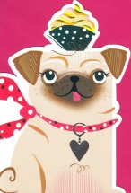 Cupcake Balancing Pug Blank Card For All Occasions