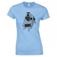 Drawn Pug Ladies  T-Shirt (Available in 4 colours)