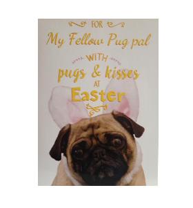 Pug Bunny Easter Card