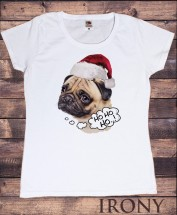 Ladies HoHo Pug Christmas T-shirt