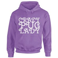 Ladies Crazy Pug Lady Hoodie (Available in 13 colours)