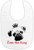 I Am The King Pug Babies Bib
