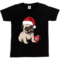 Kids Santa Pug Christmas T-Shirts (Available in 5 colours )