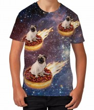 Kids Pug Donut Rider T-Shirt