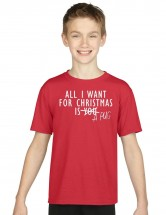 Kids All I Want For Christmas Is A Pug T-Shirt  (Available in 6 colours)