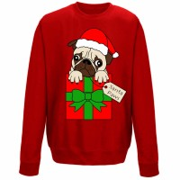Kids Pug Present Christmas Sweater (Available in 4 colours)
