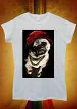 Ladies Pug In  Head Scarf T-Shirt