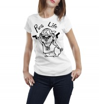 Ladies Gangsta Pug T-Shirt