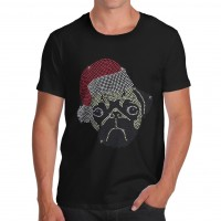 Mens Santa Pug Rhinestone Christmas T-Shirt (Available in 9 colours)