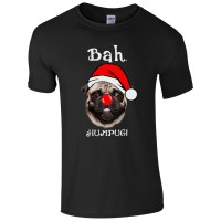 Mens Bah Hum Pug  Christmas T-Shirt (Available in 7 colours)