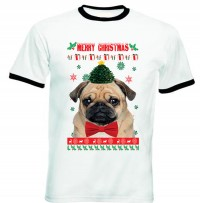 Unisex Merry Christmas Pug T-Shirt