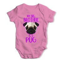 My Big Brother Is A Pug Baby Grow (Available in white,pink & blue)
