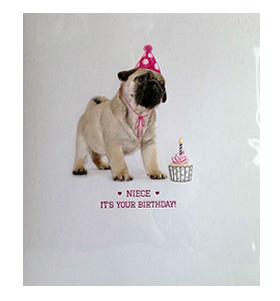Pug Puppy Cute Niece Birthday Card