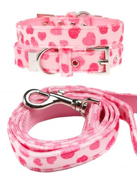 Urban Pup Pink Heart Lead & Collar Set