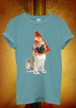 Funny Pizza Head Pug T-Shirt  (Available in 5 colours)
