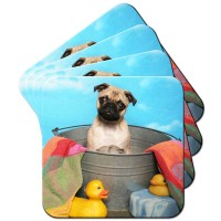 Pug  In A Bath Coaster Set Of 4