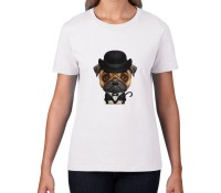 Ladies Pug In Black Hat T-Shirt