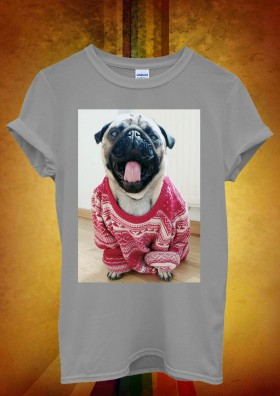 Unisex Pug In Oversized Jumper T-Shirt (Available 6 colours)