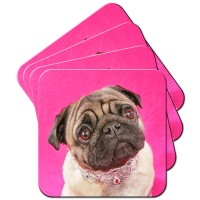 Pug In Necklace Coaster Set Of 4