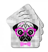 Pug Coaster Sets Of (4 Different Designs )