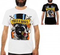 Mens Pugs & Roses T-Shirt (Available in 2 colours)