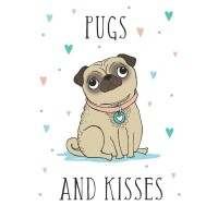Pugs & Kisses Cartoon Style Tea Towel