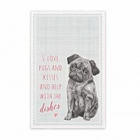 East Of India Luxury Pugs & Kisses Tea Towel