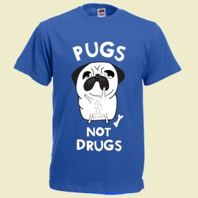 Blue Unisex Pugs Not Drugs T-Shirt