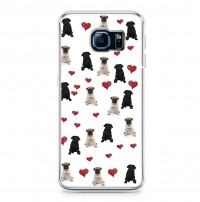 Fawn & Black Pug Printed Heart Samung Galaxy Models For S6