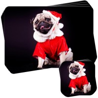 Santa Pug Christmas Placemat & Coaster Set Of 4
