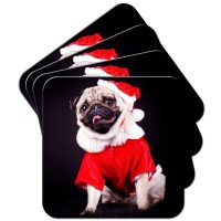 Santa Pug Coasters Set Of 4