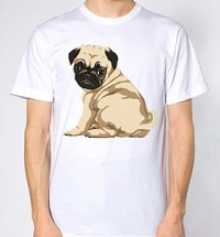 Sitting Pug Unisex Selfie T-Shirt