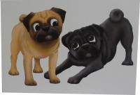 Two Pugs Playing Blank Card