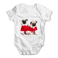 Two Santa Pugs Unisex Baby Vest