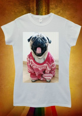 Ladies Pug In Oversized Jumper T-Shirt