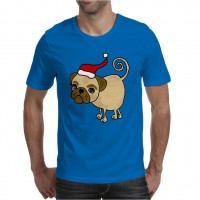 Mens Cartoon Pug Christmas T-Shirt (Available in 12 colours)