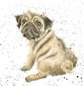 Painted Effect Pug Blank Postcard For All Occasions