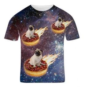 Pug Donut Riders in Space Unisex T-Shirt