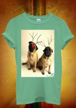 Unisex Two Pugs Christmas T-Shirt  (Available in 5 colours )