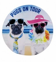 Pugs On Tour Large Round Beach Towel Suitable For Two People