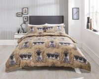 Beige Pug Double Duvet Set
