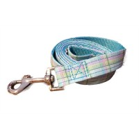 Blue Plaid Wagytail Lead To Match Blue Polo Harness
