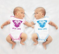 Blue & Pink Trimmed Pug Life Baby Grows