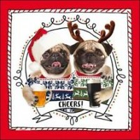 Cheers Pug Christmas Card