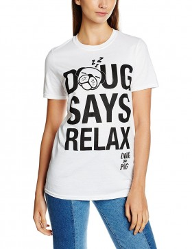Ladies Doug Says Relax Pug T-Shirt