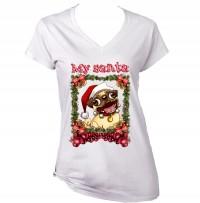 Ladies My Santa Funny Christmas Pug T-Shirt