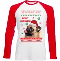 Merry Christmas Pug Long Sleeved Baseball Unisex T-Shirt