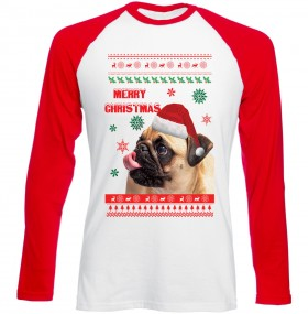 Merry Christmas Pug Long Sleeved Baseball Unisex T-Shirt