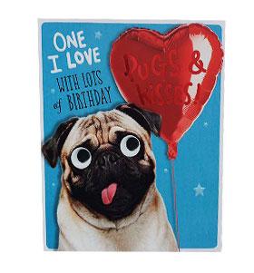 One I Love Pug Birthday Card